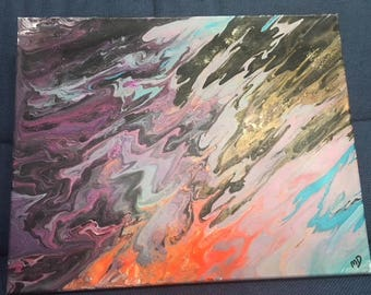 Acrylic pour, abstract, 16x20, Wanderlust