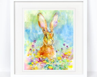 Buttercup Hare - Limited Edition Print from an Original Sheila Gill Watercolour. Fine Art, Giclee Print, Hand Painted, Home Decor