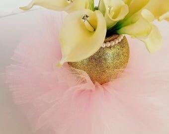 Gold Glitter Pink Tutu Vase