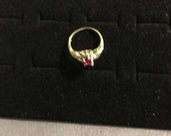 10 karat gold ruby and diamond ring