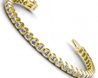 Diamond tennis bracelet, yellow gold - 1.00CT round cut total weight (Item #118263)
