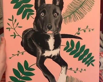 Custom Pet Portrait, Handmade Dog Portrait, Cat Portrait, Personalized Pet Painting, Pet Gift
