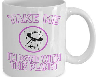Aliens UFO Mug - Alien Abduction UFOs Roswell Extraterrestrial - Nerd Gift - I Believe - Coffee Tea Cup Ceramic White 11oz 15oz