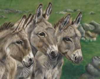 Donkey Wall Art - Donkey print - Donkey picture - Donkey Painting -  Donkey decor - Donkey Lovers Gift - Donkey portrait - Donkey Artwork