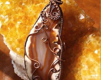 Copper Wrapped Agate Slice