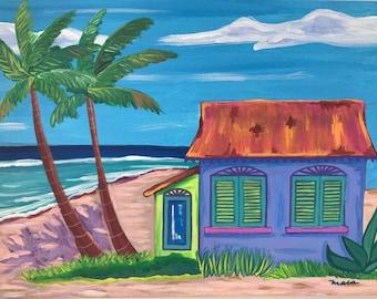 Coastal Imagination. Original Acrylic Painting. Caribbean House. Whimsical painting.