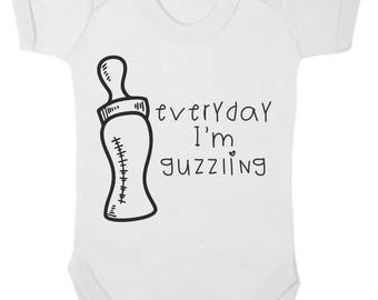 Baby Bodysuit - Novelty - Everyday I'm Guzzling - Available from 0 to 12 months in blue, pink or white.