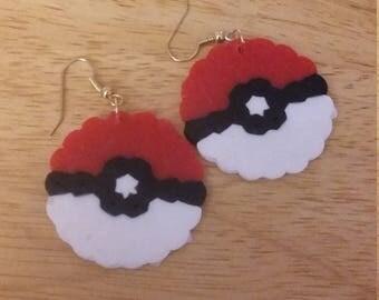 Perler Bead Pokeball Earrings