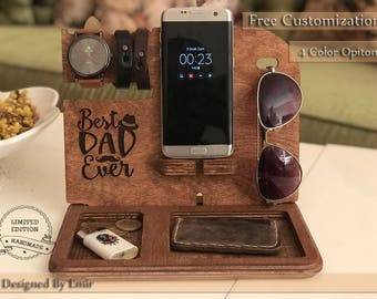 Valentine's day gift for him Wood Docking Station Stand Husband Gifts For Men Personalized for Him Custom for Dad Fathers Day valentines day