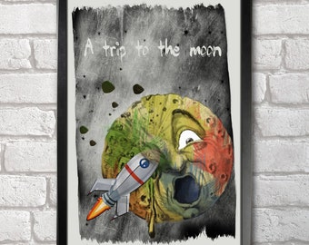 A Trip to the Moon print + 3 for 2 offer! size A3+  33 x 48 cm;  13 x 19 in