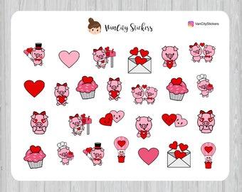 Pig Planner Stickers, Pig Valentine's Day Stickers