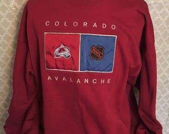 Vintage Colorado Avalanche 1990s NHL Hockey Sweatshirt / vintage nhl / sports team shirt / hockey shirt 2XL