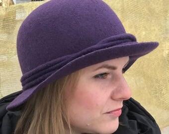 Purpel Felt Hat, Felted Hat, Cloche Hat, Hat ,Art Hat, Purple Hat, Cloche, Wool Hat,Women's hat, Women's Winter Hat, Merino Hat, Fashion Hat