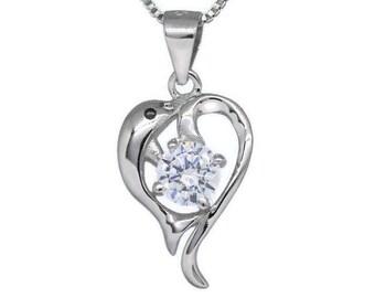 Zirconia 925 sterling silver Dolphin pendant