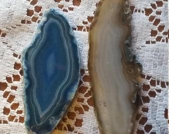 "2- 3"" slabs of polished agate"
