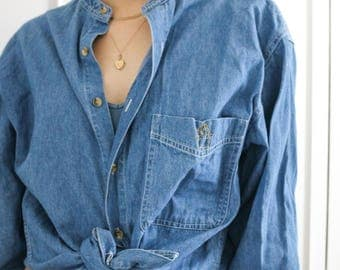 Hand Embroidered Denim Shirt - Don't Look Back and Cactus Reworked Denim Shirt