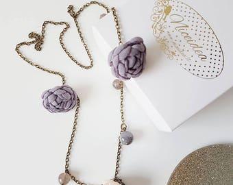Necklace, Minimal Necklace, Flower Necklace, Boho necklace, Floral necklace, Grey necklace, Pendant, Flower Pendant, Grey Pendant
