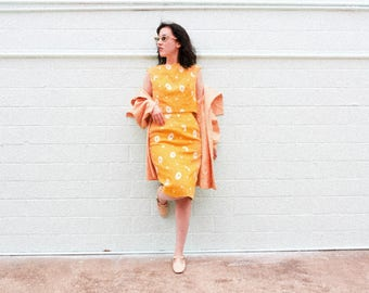 1960s yellow daisy-print two-piece