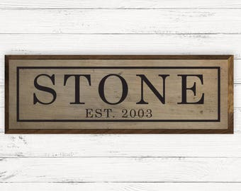 36x12 Traditional Rustic Last Name Large Custom Shimlee Wood Sign
