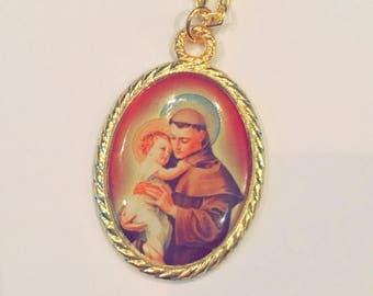 Gold St. Anthony medal necklace