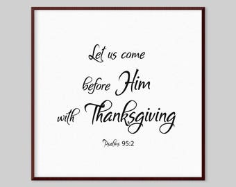 Psalms 95:2 Scripture Canvas Wall Art - Let us come before him with thanksgiving