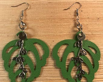 Lime green leather, Earrings, Bold Statement, Leaf Earrings,Statement earrings
