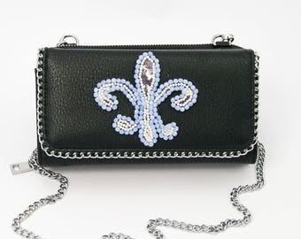 Black Faux Leather Wallet/Shoulder Bag Embellished with Hand Crafted Fleur de Lys Blue Crystal & Pearls
