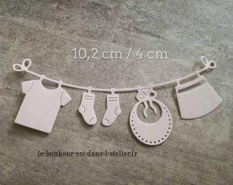 Cut out embellishment clothesline with baby scrapbooking cardmaking clothes