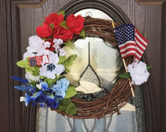 God Bless America Patriotic Wreath, Patriotic Wreath, Spring Wreath, Summer Wreath, 4th of July Wreath, Front Door Wreath, Spring Decor
