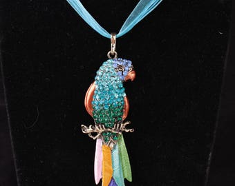 Blue Crystal Colorful Parrot Bird Necklace