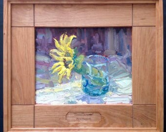 Sunflowers, original 8x10 oil painting on wood panel by Ben Haggett.  Still  life, impressionist painting of a sunflower, in hardwood frame