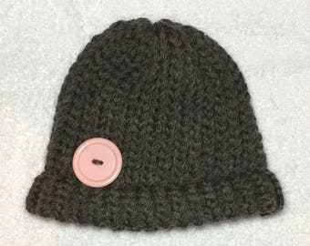 Cute as a Button Baby Hat (Brown)