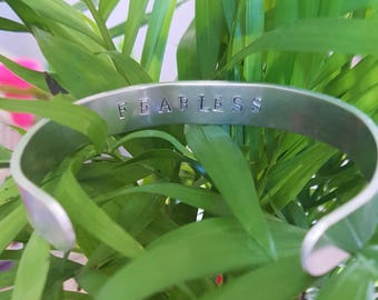 Alumininum Hand Stamped bracelet/bangle Inspirational Fearless