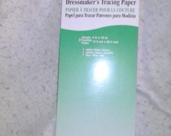 """Coats Dressmaker's Tracing Paper 3 sheets 3"""" X 19"""" White-Blue-Yellow"""