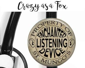 Enchanted Listening Device Stethoscope ID Tag, St Mungo's Badge Reel, Badge Reel, Lanyard,  Nurse, RN, Doctor,  Harry Potter inspired