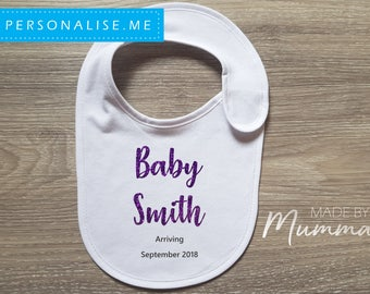 Pregnancy Announcement, New Baby Bib, Personalised Baby Bib, Newborn