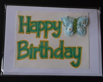 Happy Birthday Black and White Heart Handmade Card