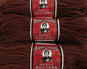 3 skeins rug yarn Aunt Lydia's heavy 140 yards #325 rust (Total yards 420) polyester