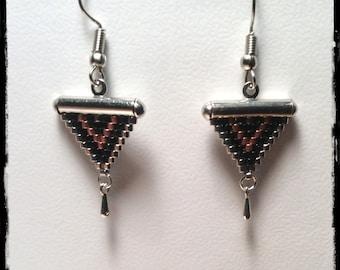 Earrings dangling weaving beads Miyuki