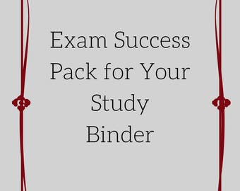 Exam Study Printable Forms | Teen Revision Aids | University Printables
