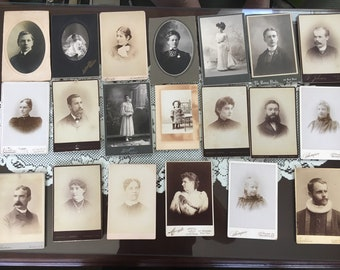 Lot of 20 vintage cabinet photographs #3