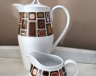 "Vintage Retro Copeland Spode ""Pacifico"" Coffee Pot & Milk Jug c.1960s"