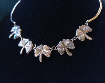 Shamrock Shell and Silver Tone Necklace- Abalone and Alpaca- Mexican Jewelry- Luck of the Irish- St. Patrick's Jewelry - Beach Jewelry- Boho
