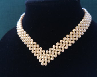 Woven V Shape Faux Pearl Choker Necklace – Vintage Pearls- 1950s Necklace - Simple Glamour - Wedding Necklace - Old and New – Something Old