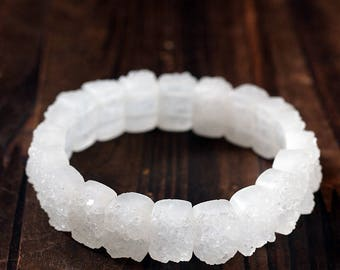 rare!! Drugy quartz rectangle bracelet 7inch,like snowy crystal