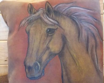 Hand Painted Horse Pillow