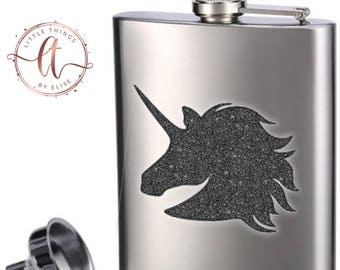 Unicorn Stainless Steel Flask, 8 oz, Gift for Her or Him