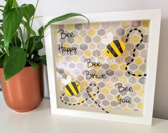 Bumble Bee Honeycomb Box frame - Bee Happy, Bee Brave, Bee You. Idea for Nursery or Bedroom