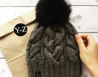 Hat winter knitted women's with Pom Pon Y-Z KNITS