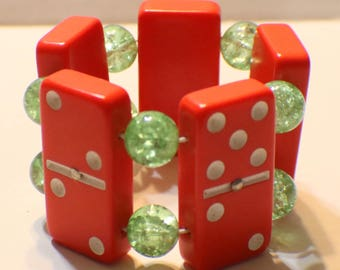 Vintage Domino Bracelet - Red Bakelite Dominoes - Green Crackle Glass Beads - Recycled - Game Piece Collection